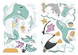 dekodino® Wandtattoo Kinderzimmer Wale, Delfine, Schildkröten, Fische Set Ozean