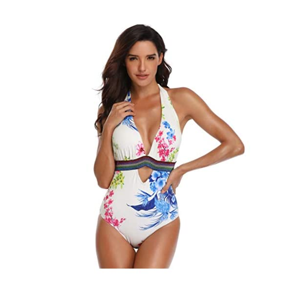 OVINEE Donne Costume Bagno Women Padded Sexy Lace-up Print Backless Bikini Halter One Piece Swimwear Donna Estate Push… 2 spesavip