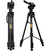 Camera Tripod,K&F Concept 60''/152cm Compact travel tripod lightweight Aluminum with 3-Way Head,3KG Load Capacity,Carry bag for DSLR Canon Nikon Sony-Black
