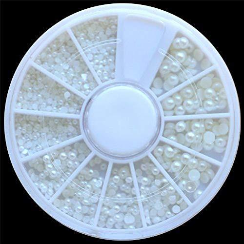 GNYD Damen Nagel Mode Weiße Perle Nail Art Stein verschiedene Größe Rad Strasssteine Perlen