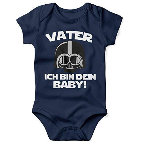 Mikalino Babybody mit Spruch für Jungen Mädchen Unisex Kurzarm Vater - ich Bin Dein Baby! | handbedruckt in Deutschland | Handmade with Love, Farbe:Navy, - Intergalaktische Kostüm