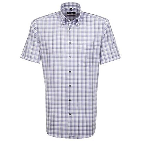 SEIDENSTICKER Herren Hemd Modern Kurzarm Bügelfrei Karo Businesshemd Button-Down-Kragen Ohne