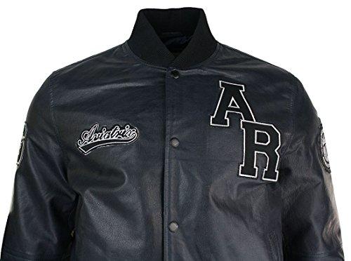 Herrenjacke Echtleder College Stil Baseball Design Jacke Bomer AX Logo Marineblau