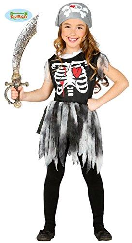Piraten Skelett Kleid für Mädchen Gr. 98 - 146, (Piraten Kostüm Skelett)