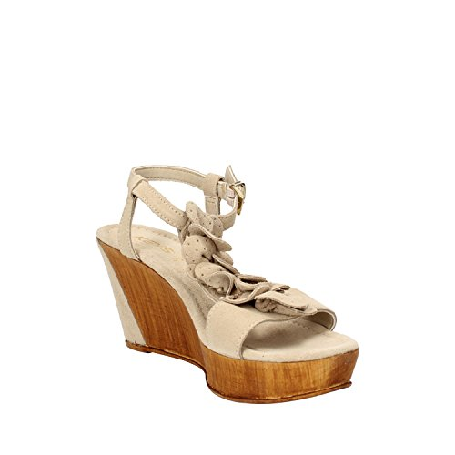 KEYS sandalen Damen Koralle / Blau / beige Wildleder Beige