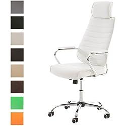 CLP Silla de escritorio RAKO con acolchado grueso y de calidad. Con tapizado de cuero sintético. La altura del asiento es regulable: 46 - 57 cm. Tiene reposabrazos, apoyacabezas y función de blanco