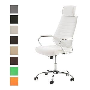 41ZQMiIPzTL. SS300  - CLP-Silla-de-escritorio-RAKO-con-acolchado-grueso-y-de-calidad-Con-tapizado-de-cuero-sinttico-La-altura-del-asiento-es-regulable-46-57-cm-Tiene-reposabrazos-apoyacabezas-y-funcin-de-balanceo-blanco