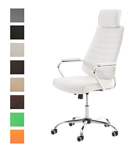 Clp poltrona da ufficio rako con poggiatesta, in similpelle - poltrona direzionale con altezza regolabile 46-57 cm e telaio in metallo i sedia imbottita con braccioli e 5 ruote antiattrito bianco