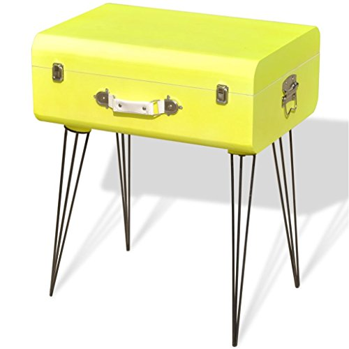 vidaXL Mueble Mesa Auxiliar Vintage de Color Amarillo Dimensiones 49,5x36x60 cm