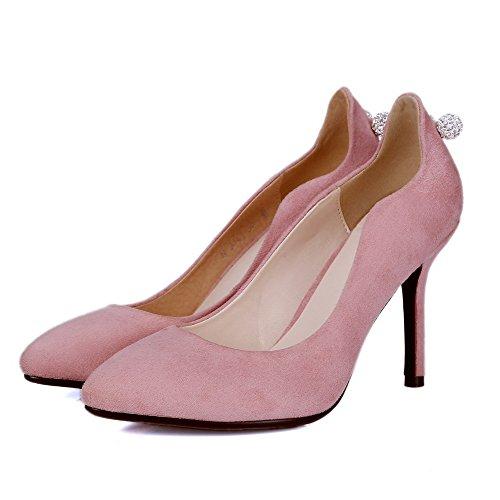 VogueZone009 Femme Tire à Talon Haut Suédé Couleur Unie Fermeture D'Orteil Pointu Chaussures Légeres Rose