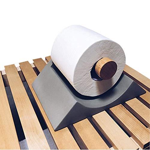HAO SHOP Küchenrollenhalter für Neuheiten, Papierhandtuchhalter für Arbeitsplatten, Toilettenpapierständer aus Holz und weichem Beton, einzigartige Inneneinrichtung, 19,7 × 15 × 9,8 cm