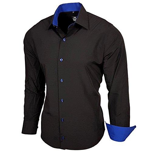 Baxboy Herren-Hemd Slim-Fit Bügelleicht Für Anzug, Business, Hochzeit, Freizeit - Langarm Hemden für Männer Langarmhemd R-44, Farbe:Schwarz/Sax;Größe:XL