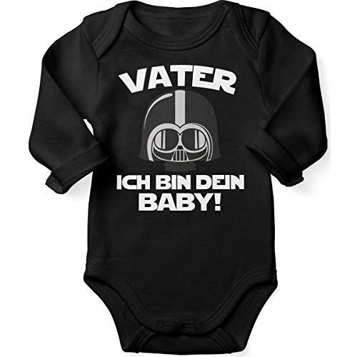 Mikalino Babybody mit Spruch für Jungen Mädchen Unisex Langarm Vater - ich Bin Dein Baby! | handbedruckt in Deutschland | Handmade with Love, Farbe:schwarz, - Baby Jungen Star Wars Kostüm