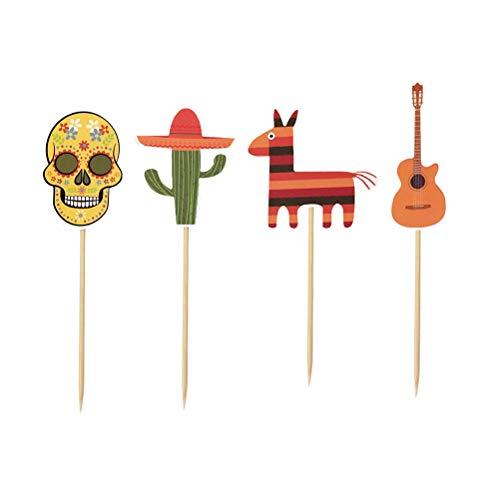 Amosfun 24 Piezas de Pastel de Cinco de Mayo Adornos de pastelitos Decoraciones para Pasteles Fiesta de Fiesta Mexicana Suministros Decoraciones (4 Tipos, 6 Cada uno)