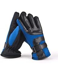 Invierno de cuero para hombre ModelsThicker terciopelo guantes de algodón caliente (Bleu)