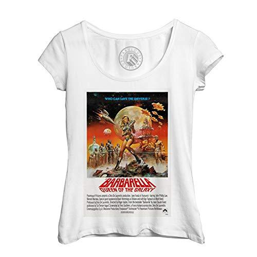 Altes Shirt (Frauen T-Shirt Altes Englisch Plakat Barbarella Queen of The Galaxy Retro Vintage Film Kino)