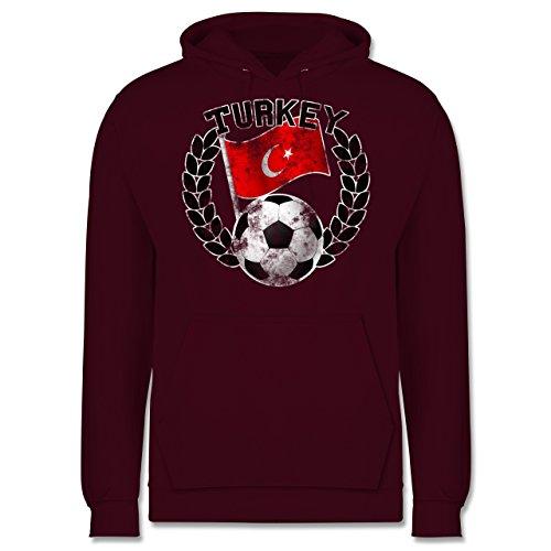 EM 2016 - Frankreich - Turkey Flagge & Fußball Vintage - Männer Premium Kapuzenpullover / Hoodie Burgundrot