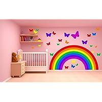 RAINBOW & BUTTERFLIES WALL STICKER KIT decal art nursery cute girl