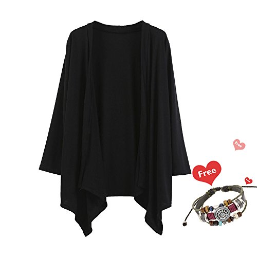 Ninasill Damen Bluse, ღ ღ Lose Schal Kimono Cardigan Ursächliche Top Cover up Shirt Casual Small Schwarz