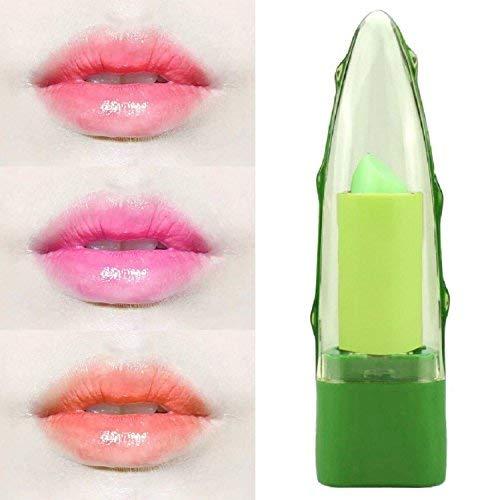 3Pcs Rouge à lèvres à changement de température portatif Pure Natural 99% Gel Aloe Vera Changing Color Maquillage Hydratant à Lèvre Longue Lip Crème