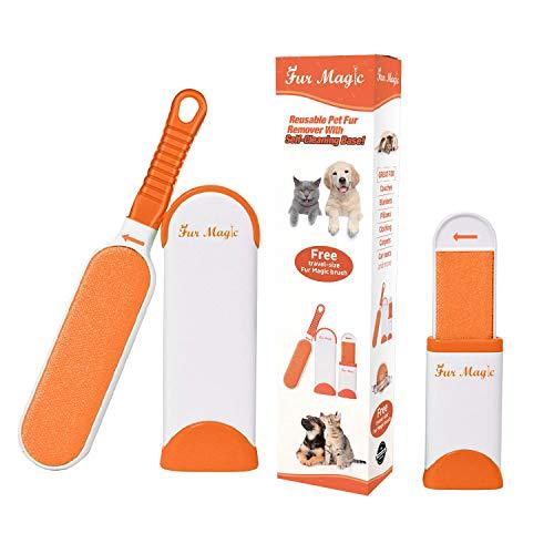 emover Fusselbürste mit selbstreinigender Basis, verbesserter Griff, doppelseitige Fellbürste mit Reisegröße, für Hund und Katze, Orange ()