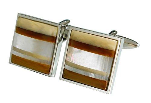Unbekannt Manschettenknöpfe Perlmutt Jasper Tigerauge gestreifte Optik cremeweiss Weiss braun + Silberbox