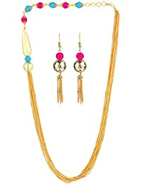AccessHer Stylish Gold Chain And Beads Necklace For Women