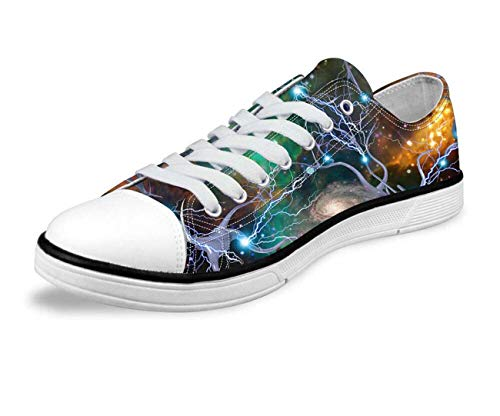 Galaxy Starry Women Lady Flat Low Top Canvas Shoes Sneakers Gym Trainers Pumps D0355AP UK 6