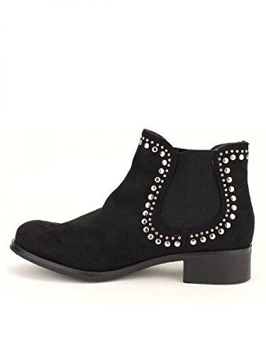 Cendriyon, Bottine daim Noire HANATY Chaussures Femme Noir