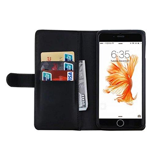 iPhone 7 Plus Hülle, iPhone 7 Plus Leather Hülle, Gift_Source [ Braun ] Leder Phone Case Hülle Brieftasche mit Kartenfächer [Geldscheinfach mit Reißverschluss] Premium Börse Tasche mit abnehmbaren Mag E1-Schwarz