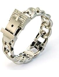 81c186fd7007 Bracelet Manchette Gourmette Rigide Extensible en 2 Parties Plaqué Argent  Boucle et Srass