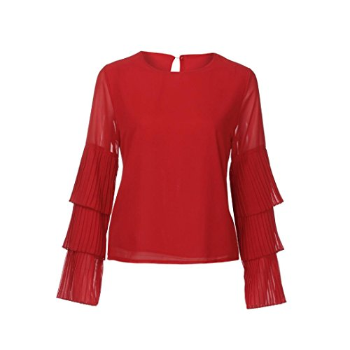 Yogogo Femmes Mousseline Manchon éVasé Manches Longues T-Shirt Mesdames Occasionnel Tops Blouse Rouge