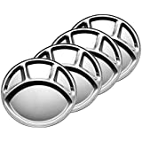 Dynore Stainless Steel Round Mess Tray Set, Set Of 4, Silver