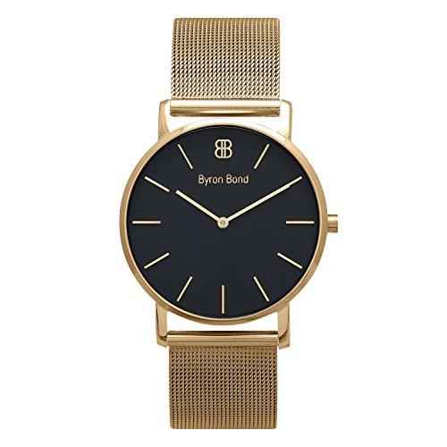 Byron Bond 38 mm Ultra Slim Armbanduhr für Damen und Herren Klassische Elegante Uhr (Chigwell - goldenes Gehäuse mit schwarzem Zifferblatt und goldfarbenem Netzband) -