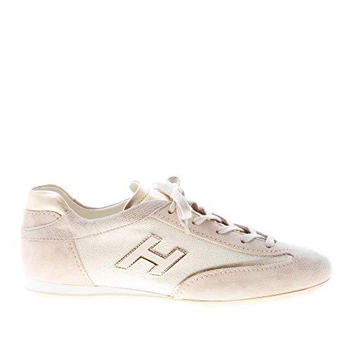 Hogan Donna Olympia Sneaker in camoscio più Tessuto Lurex Beige Color Beige Size 38.5