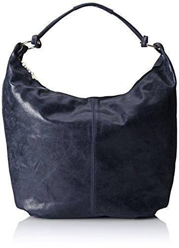 CTM Frauen Schultertasche, Tasche Leder, 45x35x4cm, echtes Leder 100% Made in Italy Blau (Blu)