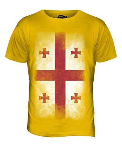 CandyMix Georgien Verblichen Flagge Herren T Shirt Dunkelgelb