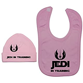 Acce Products Jedi In Training Baby Lätzchen und Beanie Hat/Cap 0 bis 12 Monate Gr. XXS, rose