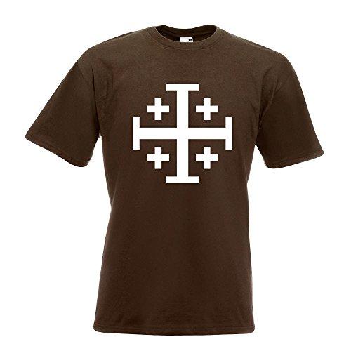 KIWISTAR - Jerusalemkreuz T-Shirt in 15 verschiedenen Farben - Herren Funshirt bedruckt Design Sprüche Spruch Motive Oberteil Baumwolle Print Größe S M L XL XXL Chocolate