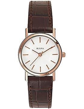 Bulova Classic 98V31 - Damen Designer-Armbanduhr - Armband aus Leder - Elegantes Design - Braun/Roségoldfarben