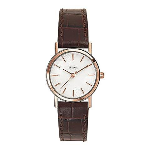 Bulova Ladies Women's Designer Watch Leather - Brown Rose Gold Classic Dress Wrist Watch (Pelle Bulova Brown Delle Donne)