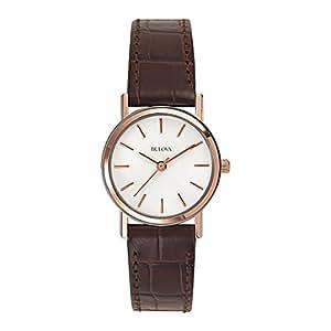 bulova classic 98v31 damen designer armbanduhr armband aus leder elegantes design braun. Black Bedroom Furniture Sets. Home Design Ideas