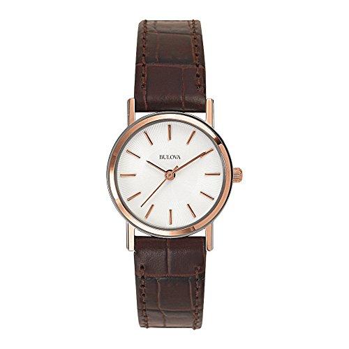bulova-classic-98v31-damen-designer-armbanduhr-armband-aus-leder-elegantes-design-braun-rosegoldfarb