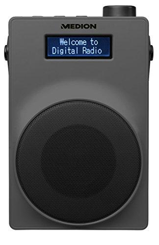 MEDION LIFE E66880 MD 48080 DAB+ Radio (PLL UKW, 1,8 Zoll Display, Akku, Teleskopantenne, Kopfhöreranschluss, USB Ladeanschluss, 30 Watt) grau