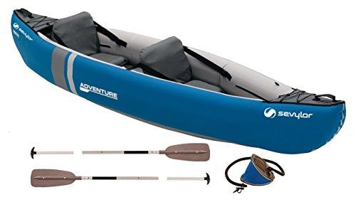 faltboot kajak Sevylor Kanu aufblasbar Adventure Kit - 2 Personen Faltkajak inkl. 2 Paddel, Fußpumpe, 314 x 88 cm