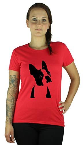 Guuja Damen T-Shirt Boston Terrier - Lustiges Shirt in red