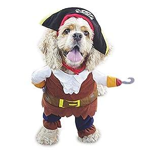 Hokpet Costumes Halloween Chien Chat Petit Vêtements Cosplay Pirate (XL)