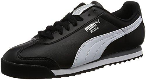 Puma Herren Roma Basic Sneakers, Schwarz (Black-White Silver 11), 42 EU (Puma Herren Roma)