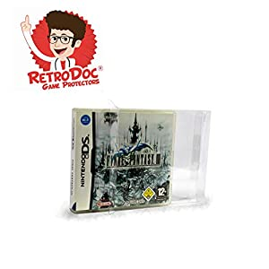 5 Klarsicht Schutzhüllen für Nintendo DS/DSI/2DS Games in Originalverpackung – Passgenau und Glasklar – PET – Retro-Doc Game Protectors – Extra Laschen – Bessere Optik – Cases – Box