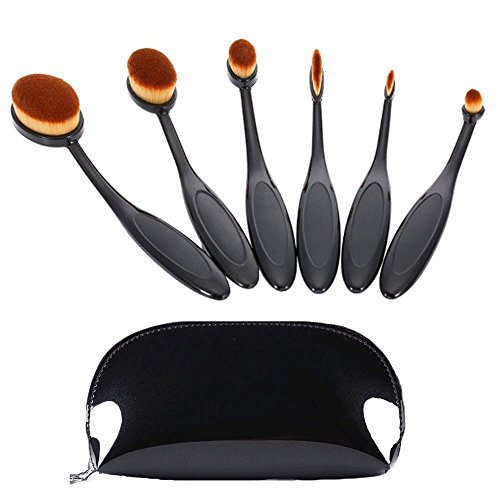 carsend Make-up-Pinsel 6-teilig oval Make-up Pinsel Set Profi Foundation Concealer Blush Liquid Powder Cream, Cosmetics Pinsel, Zahnbürste Curve Make-up Werkzeug für Gesicht und Augen